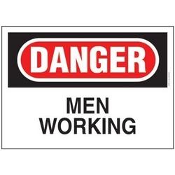 """Adhésive signe, Poly, DANGER Hdr, hommes travaillant, 7"""" W X 10"""" H, 1/cd, Cd/pk 1, rouge et noir/blanc."""