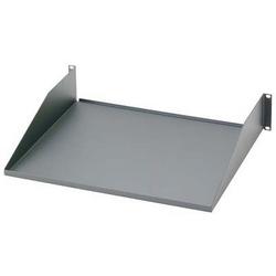 "19"" front mount shelf, steel, Dimensions: 3.5""H x 19.0""W x 15.2""D (88mm x 483mm x 385mm), Load rating 50 lbs. (22.7 kg)."