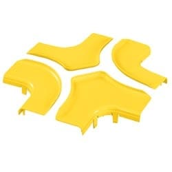"Split Cover, 4-Way Cross, 6"" x 4"" (150mm x 100mm), FiberRunner, Yellow"