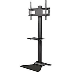 """Floor stand with metal shelf for 37"""" to 63""""+ displays"""