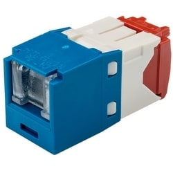 Category 5e Jack Module, RJ45, 8-Position, 8-Wire Spring Shuttered, Universal, Blue