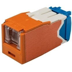 Category 6A Jack Module, RJ45, 8-Position, 8-Wire Spring Shuttered, Universal, Orange