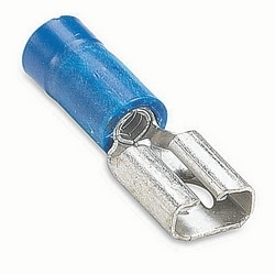 Vinyl Insulated Female Disconnect, Wire Range #16-#14 AWG, Copper, Tin Plated, Length .85 Inches, Width .23 Inches, Maximum Insulation .170, Tab Size .187x.020, Blue