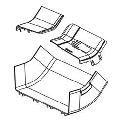 "Angle Fitting And Cover, Inside Vertical 45 Degrees, 12"" x 4"" (300mm x 100mm), FiberRunner, Orange"