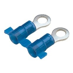 "Ring Terminal, Nylon Insulated, 12 - 10 AWG, 1/4"" Stud Size, Reel Fed, Pack of 2000"