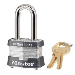 "Tumbler Padlock, Keyed Alike, 4-Pin W1 Cylinder, 1-9/16"" Width, 1-1/2"" Shackle Clearance, Laminated Steel, With (2) 3358 Key"