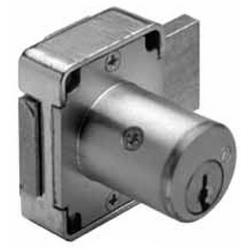 "Deadbolt Cabinet Door Lock, Keyed Alike, 5-Pin Standard, 7/8"" Diameter x 1-3/8"" Length Barrel, Die-Cast Zinc, Satin Chrome Plated, With 4T37526 Key"