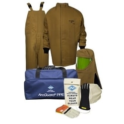HRC4 Arcguard Kevlar/Nomex/Para-Aramid Kit With Short Coat & Bib Overall (Arc Rating = 100 cal/cm2), Glove Size 10, Large