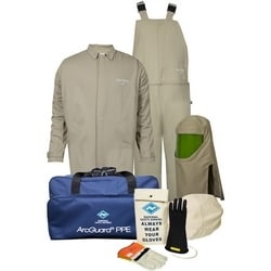 HRC4 Arcguard 40 cal Economy Kit With Khaki Short Coat & Bib Overall (Arc Rating = 40 cal/cm2), Glove Size 10, Large