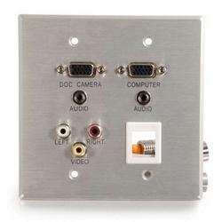 RapidRun Aluminum Wallplate (2)HD15+(2)3.5+3 RCA+KS V2