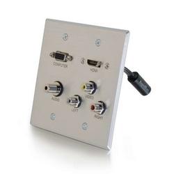 Double Gang HDMI/3 RCA/3.5/VGA, Wallplate AL, RapidRun Optical