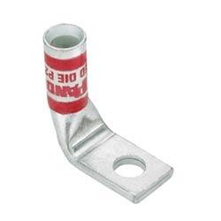 """Compression cuivre Lug, trou 1, AWG #2, 3/8""""(9,5 mm) Stud, degrés 90 Bent"""