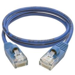 Cat5e 350 MHz Snagless Molded Slim UTP Patch Cable (RJ45 M/M), Blue, 2 ft.