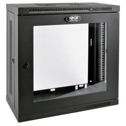 Tripp Lite 12U Very Low-Profile Wall-Mount Rack Enclosure Cabinet with Clear Acrylic Window, Removable Side Panels, 25H x 24W x 13D