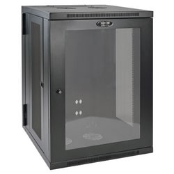 Tripp Lite 18U Low-Profile Wall-Mount Rack Enclosure Cabinet with Clear Acrylic Window, Double Hinge, Removable Side Panels, 36H x 24W x 22D