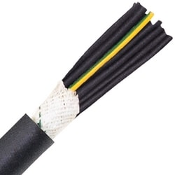"Super Flexible Heavy Duty Continuous Flex Control Cable, Stationary, 10 AWG (1.00mm2), 4 conductor, Black PVC Jacket, Unshielded, 0.511"" Outer Diameter, 7.5 Bend radius"