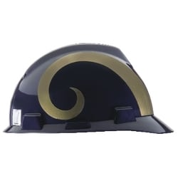 NFL Hard Hat Protective Cap, Los Angeles Rams (formerly St. Louis Rams), V-Guard, 1-Touch, Polyethylene Shell Material, ANSI/ISEA Z89.1-2014 (Class E), CSA Z94.1-2005 (Class E)
