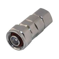 """RF Connector, Low PIM, 4.1-9.5 Male, 5500 MHz Frequency, White Bronze Body Plating, Silver Contact Plating, PTFE Dielectric, For 1/2"""" Standard Flex Corrugated Cable"""