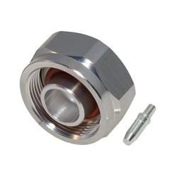 RF Connector, Low PIM, 4.1-9.5 (Mini) DIN Male, 5500 MHz Frequency, White Bronze Body Plating, Silver Contact Plating, PTFE Dielectric, For TFT-402-LF Cable