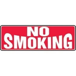 "Safety Sign, NO SMOKING, 4"" x 12"", Aluminum, White on Red"