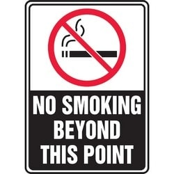 """Safety Sign, NO SMOKING BEYOND THIS POINT, 7"""" x 5"""", Aluminum, Red/Black/White"""