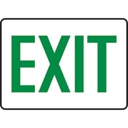 """Safety Sign, EXIT, 10"""" x 14"""", Dura-Polyester Vinyl, Green on White"""