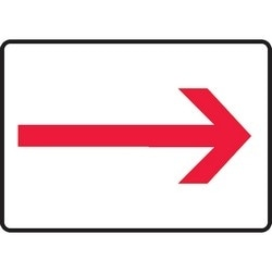 "Safety Sign, (ARROW SYMBOL), 10"" x 14"", Aluminum, Red on White"