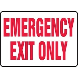"""Safety Sign, EMERGENCY EXIT ONLY, 7"""" x 10"""", Dura-Polyester Vinyl, Red on White"""
