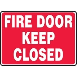 """Safety Sign, FIRE DOOR KEEP CLOSED, 10"""" x 14"""", Aluminum, White on Red"""