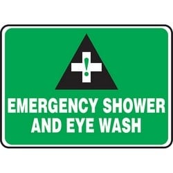 "Safety Sign, EMERGENCY SHOWER AND EYE WASH, 10"" x 14"", Dura-Polyester Vinyl, White/Black on Green"