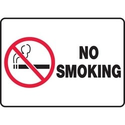 """Safety Sign, NO SMOKING, 7"""" x 10"""", Aluminum, Red/Black on White"""