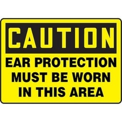 "Safety Sign, CAUTION EAR PROTECTION MUST BE WORN IN THIS AREA, 10"" x 14"", Aluminum, Black on Yellow"