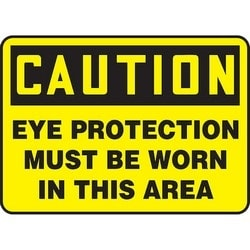 "Safety Sign, CAUTION EYE PROTECTION MUST BE WORN IN THIS AREA, 7"" x 10"", Aluminum, Black on Yellow"