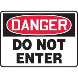 """Safety Sign, DANGER DO NOT ENTER, 10"""" x 14"""", Aluminum, Red/Black on White"""