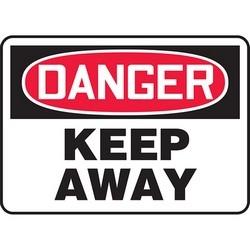 "Safety Sign, DANGER KEEP AWAY, 10"" x 14"", Dura-Polyester Vinyl, Red/Black on White"