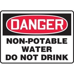 """Safety Sign, DANGER NON-POTABLE WATER DO NOT DRINK, 10"""" x 14"""", Dura-Polyester Vinyl, Red/Black on White"""