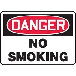 "Safety Sign, DANGER NO SMOKING, 10"" x 14"", Dura-Polyester Vinyl, Red/Black on White"