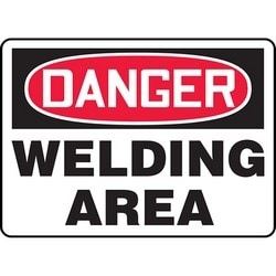 "Safety Sign, DANGER WELDING AREA, 7"" x 10"", Aluminum, Red/Black on White"