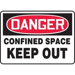 "Safety Sign, DANGER CONFINED SPACE KEEP OUT, 10"" x 14"", Aluminum, Red/Black on White"