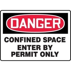 "Safety Sign, DANGER CONFINED SPACE ENTER BY PERMIT ONLY, 7"" x 10"", Aluminum, Red/Black on White"