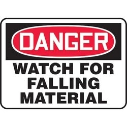 "Safety Sign, DANGER WATCH FOR FALLING MATERIAL, 10"" x 14"", Aluminum, Red/Black on White"