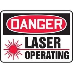 "Safety Sign, DANGER LASER OPERATING, 7"" x 10"", Aluminum, Red/Black on White"