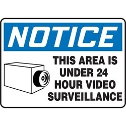 "Safety Sign, NOTICE THIS AREA IS UNDER 24 HOUR VIDEO SURVEILLANCE, 10"" x 14"", Dura-Polyester Vinyl, Blue/Black on White"