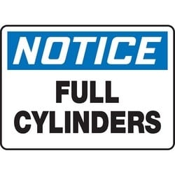 "Safety Sign, NOTICE FULL CYLINDERS, 7"" x 10"", Aluminum, Blue/Black on White"