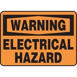 "Safety Sign, WARNING ELECTRICAL HAZARD, 10"" x 14"", Dura-Polyester Vinyl, Black on Orange"