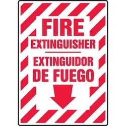 """Safety Sign, FIRE EXTINGUISHER (ARROW DOWN)/EXTINGUIDOR DE FUEGO, 10"""" x 7"""", Aluminum, Red on White"""