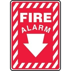 "Safety Sign, FIRE ALARM (ARROW DOWN), 14"" x 10"", Dura-Polyester Vinyl, White on Red"