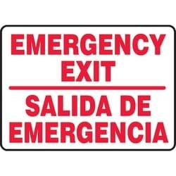 "Safety Sign, EMERGENCY EXIT/SALIDA DE EMERGENCIA, 10"" x 14"", Dura-Polyester Vinyl, Red on White"