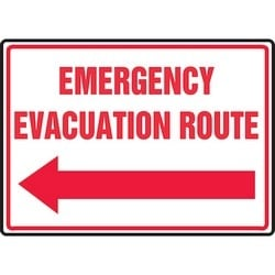 """Safety Sign, EMERGENCY EVACUATION ROUTE (ARROW LEFT), 10"""" x 14"""", Aluminum, Red on White"""