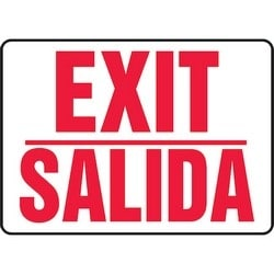 "Safety Sign, EXIT/SALIDA, 10"" x 14"", Aluminum, Red on White"
